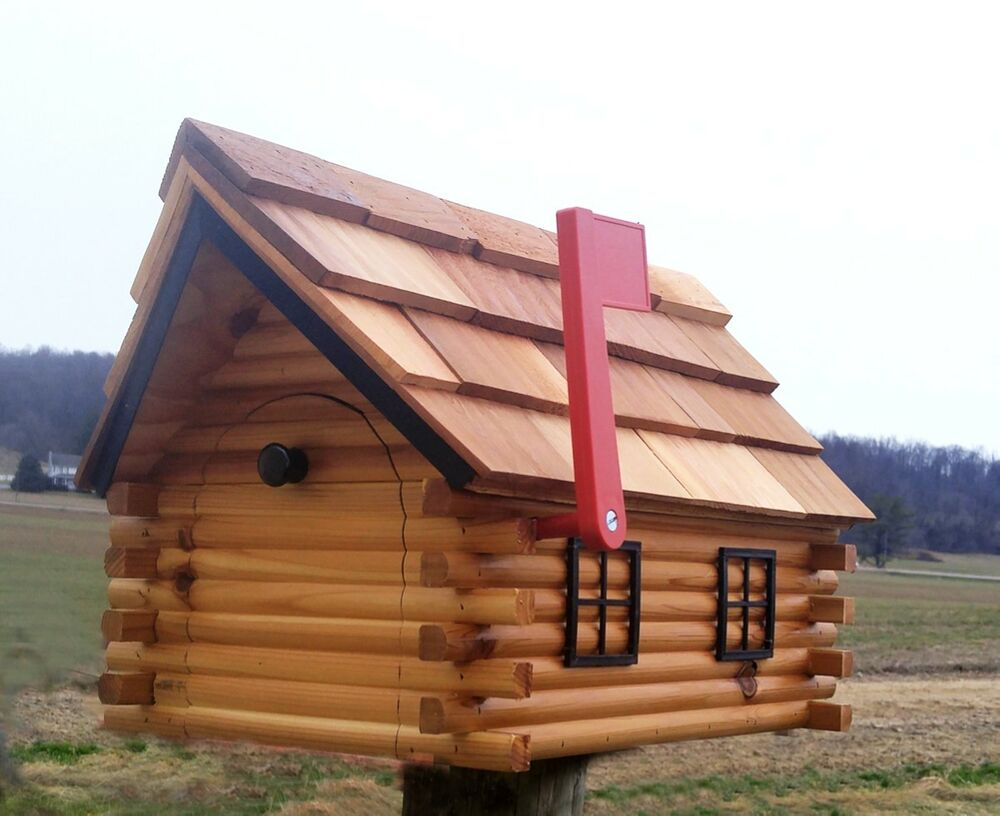 Log Cabin Mailbox Amish Handcrafted Wooden Mailbox W Flag Red   EBay