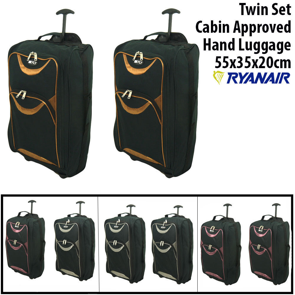 simple set 55x40x20 ryanair chariot accept en cabine a roulettes valise bagage ebay. Black Bedroom Furniture Sets. Home Design Ideas