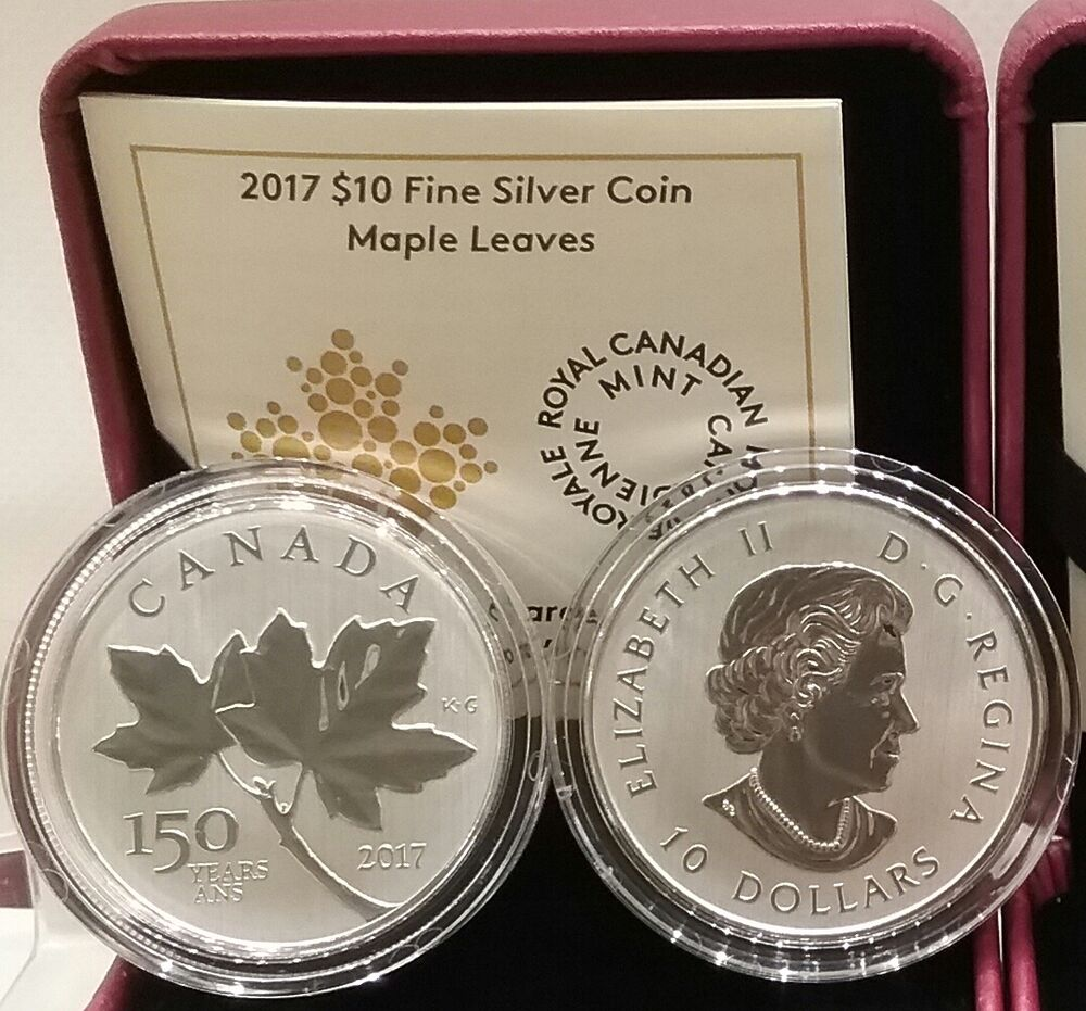 2017 Canadian Maple Leaves 10 1 2oz Pure Silver Coin