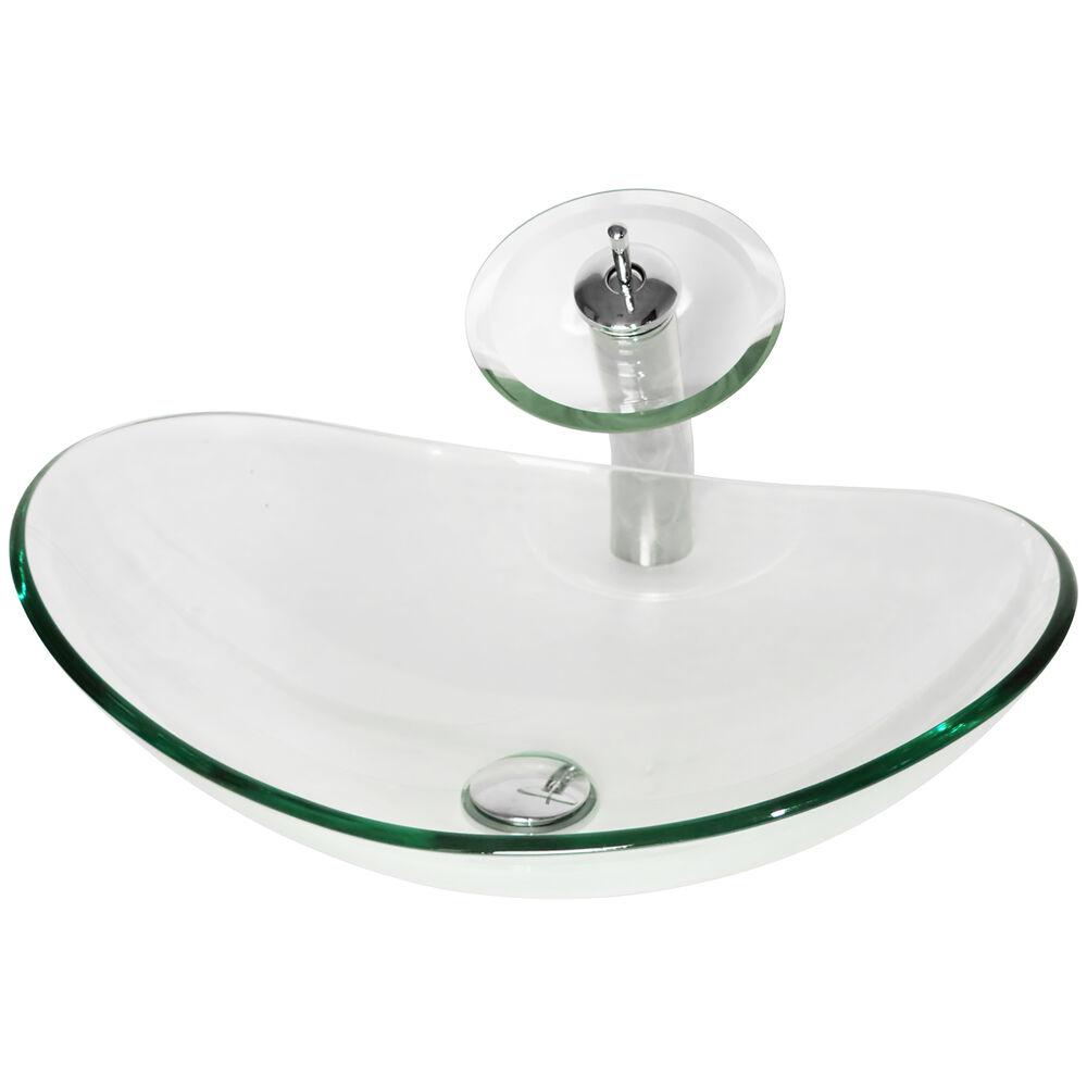 clear glass bathroom sinks oval clear glass bathroom vessel sink amp waterfall faucet 17777