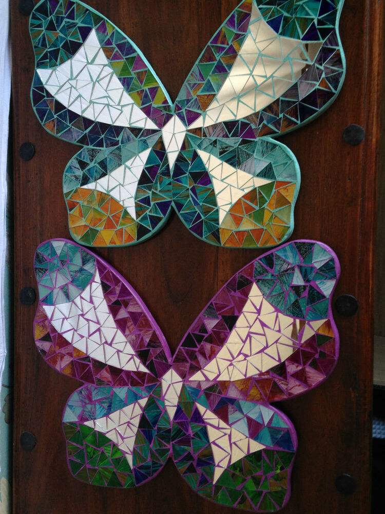 butterfly mosaic mirror wall art hand made ebay. Black Bedroom Furniture Sets. Home Design Ideas