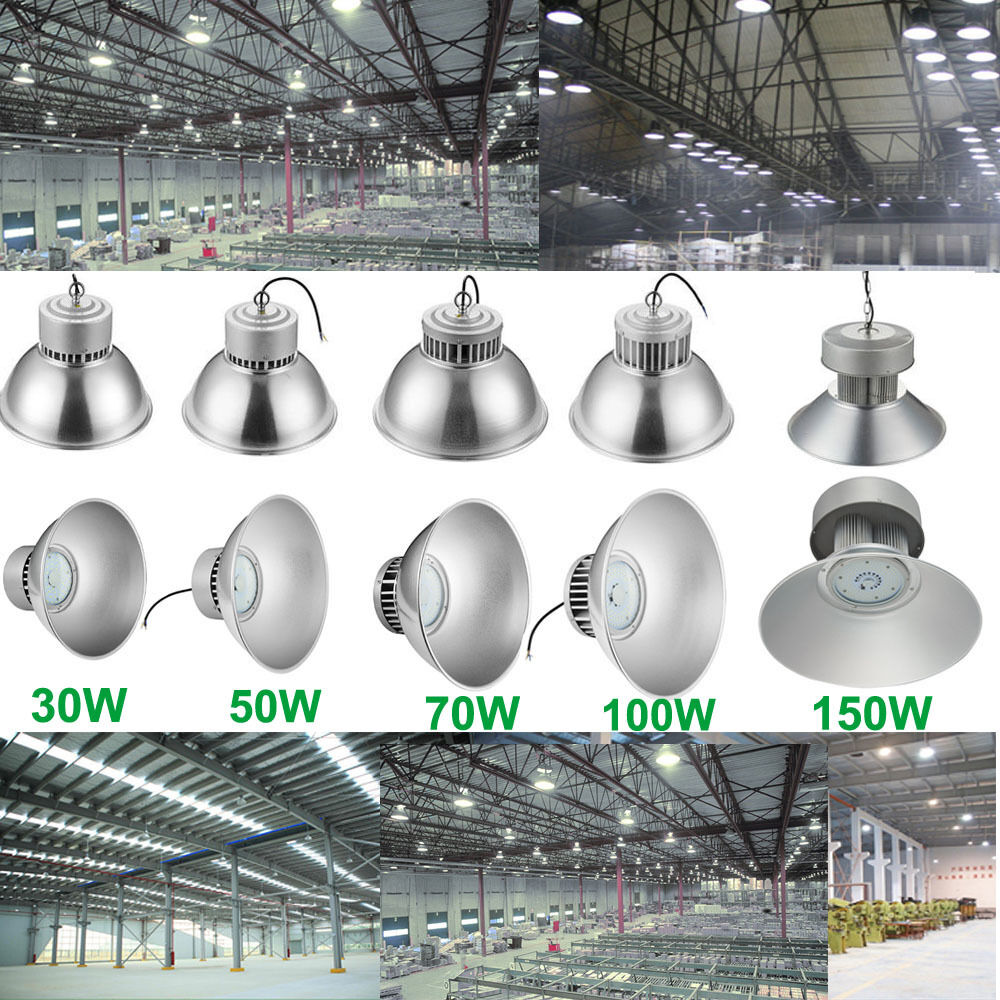 30W-150W LED High Bay Light Bright White Fixture Warehouse