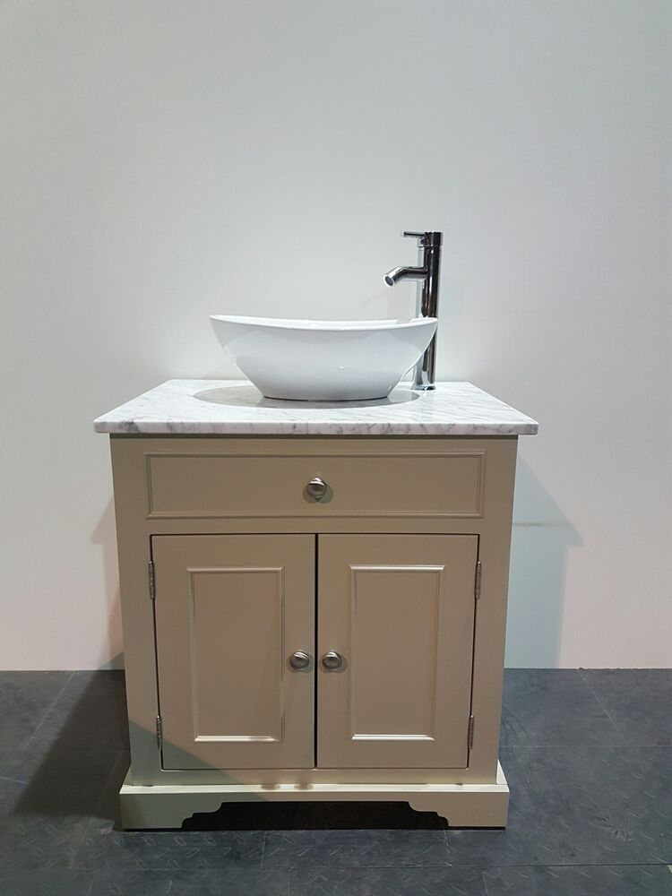 Traditional Granite Top Painted Vanity Unit 600mm Wide Bathroom Wash Stand