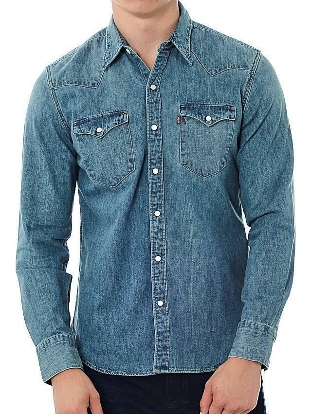 Levi 39 S Men 39 S Slim Fit Barstow Denim Western Snap Up Shirt