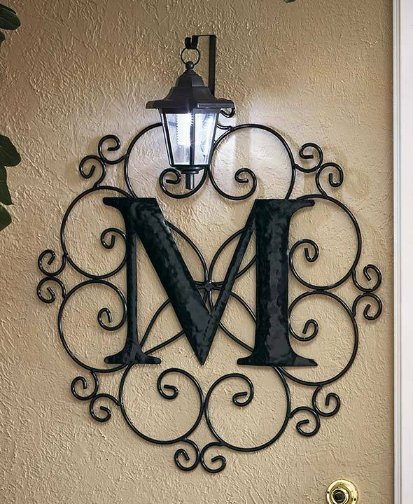 Metal Monogram Solar Light Wall Lantern 12 Letters Patio