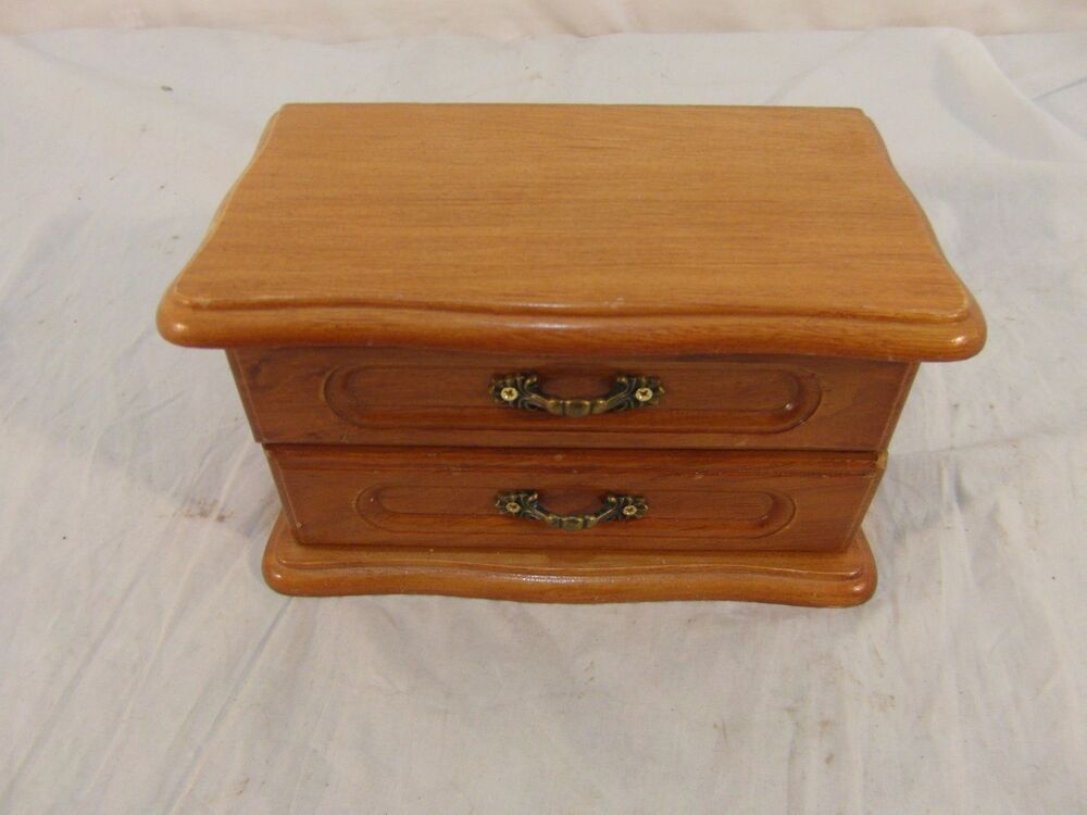 wooden jewelry box w 2 drawers small mirror green felt lined 32896 ebay. Black Bedroom Furniture Sets. Home Design Ideas