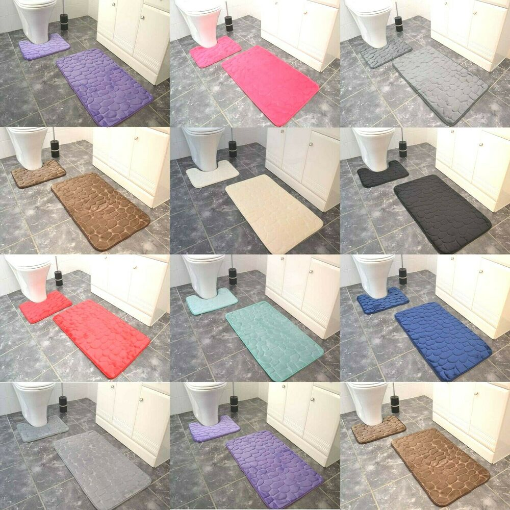 Soft Memory Foam Bath Mats Large Washable Luxury 2 Piece