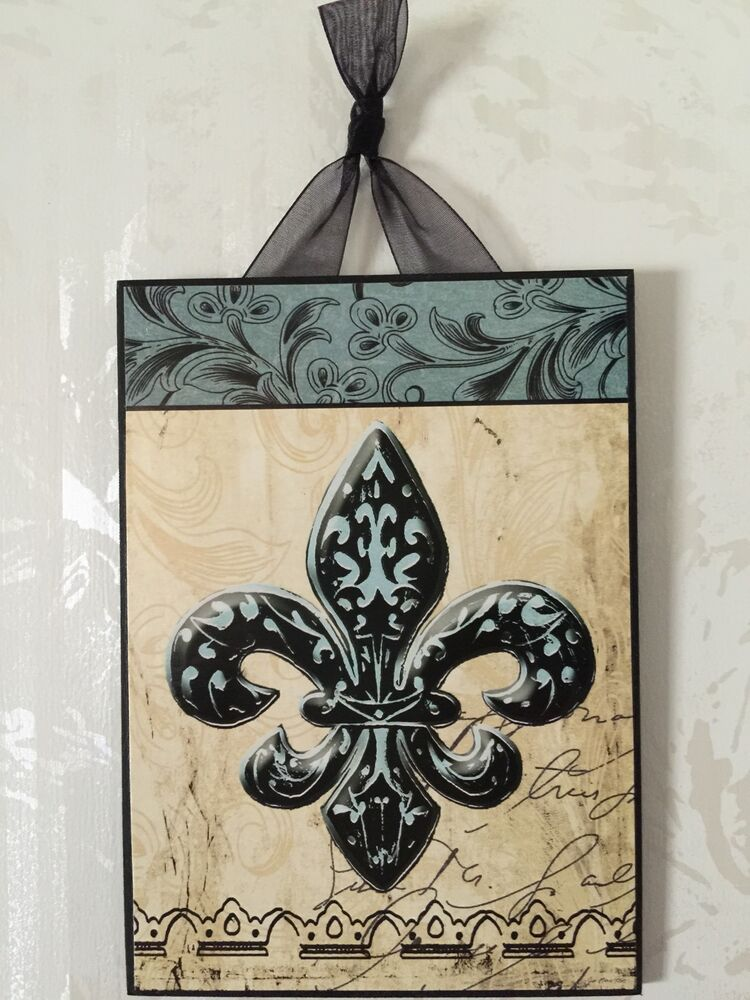 new fleur de lis plaque wall decor french ebay. Black Bedroom Furniture Sets. Home Design Ideas
