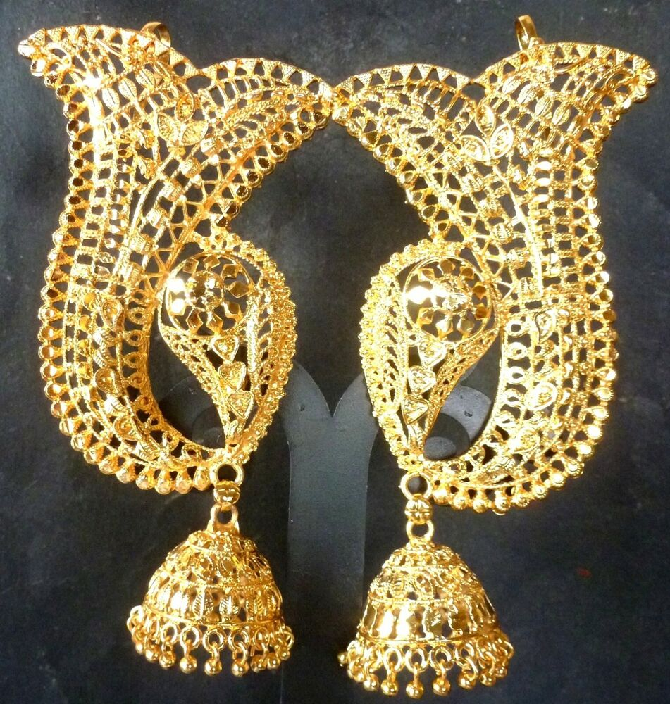 Indian 22k Gold Plated Wedding Necklace Earrings Jewelry: Indian Wedding 22K Gold Plated Full Ear Earrings With
