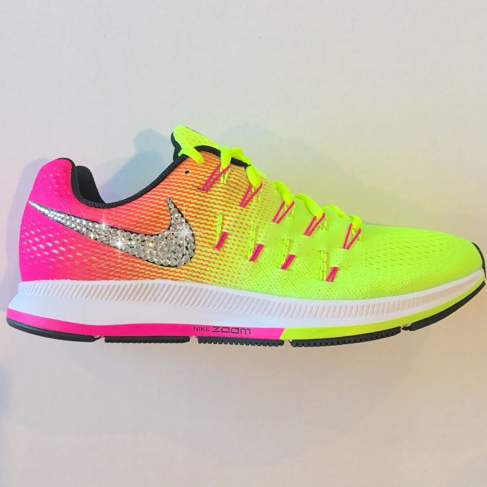 info for 1737a e999e Details about Bling Nike Shoes w Swarovski Crystals Air Zoom Pegasus 33 OC  Olympic 2016 Multi