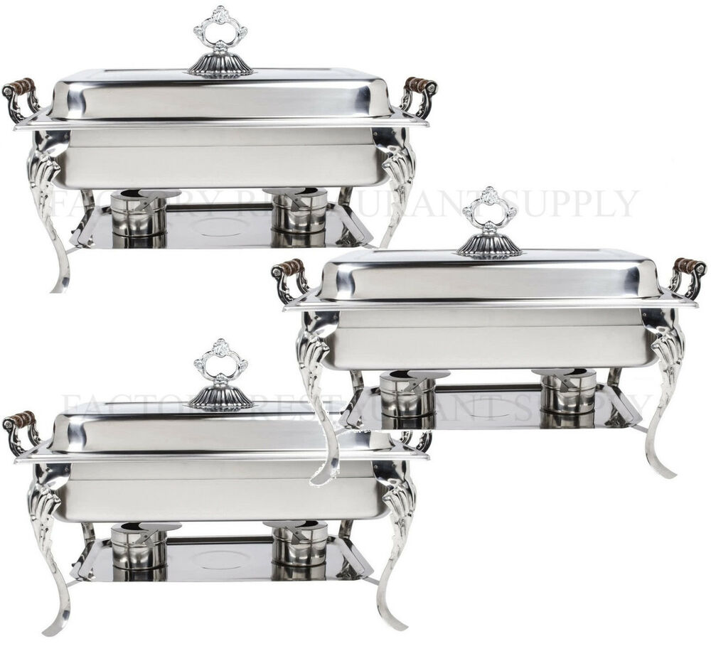 3 pack catering classic stainless steel chafer chafing dish set 8 qt buffet full ebay. Black Bedroom Furniture Sets. Home Design Ideas