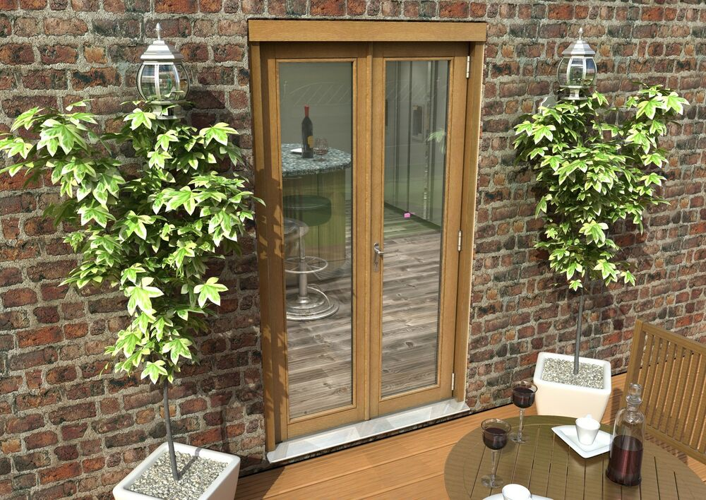 Oak french doors 4ft 1200mm 44mm 1 6 uvalue supplied for 1200mm front door
