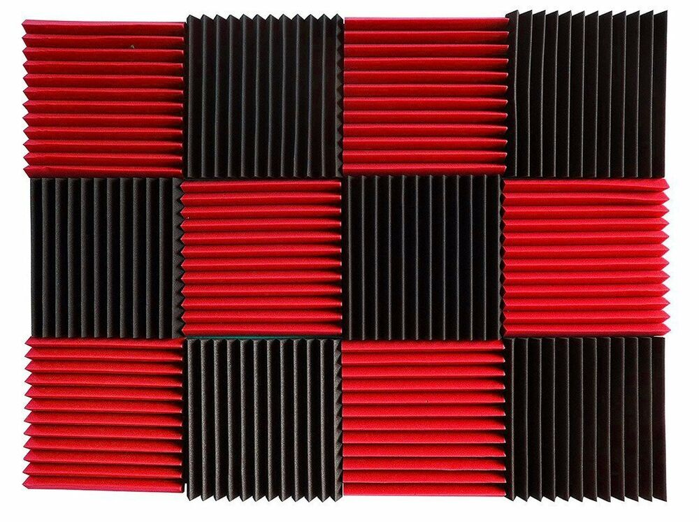 12 pcs acoustic wall foam panels red charcoal soundproof for Sound proof wall padding