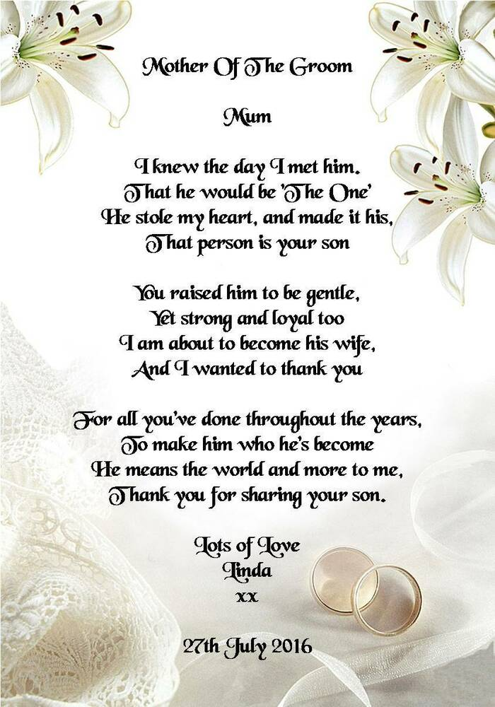Wedding Gift Amount Sister : Wedding Day Thank You Gift, Mother Of The Groom from Bride Poem A5 ...