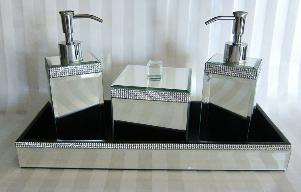 Bella lux mirror rhinestone crystal bathroom accessory set for Bathroom accessories with rhinestones