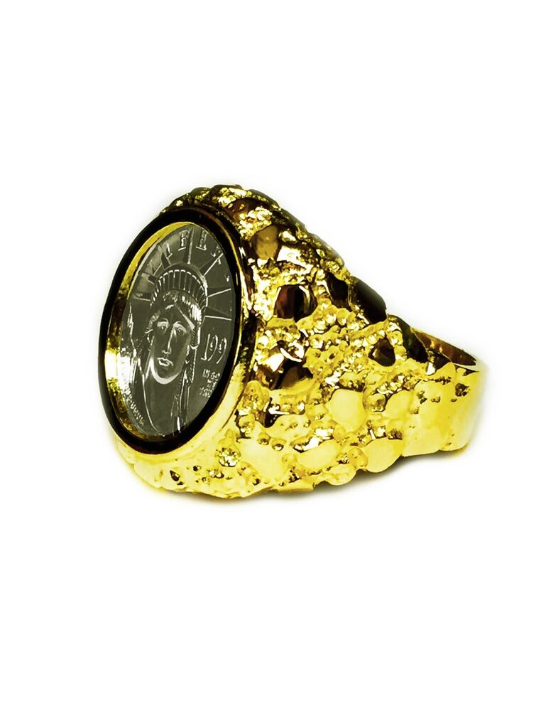 14k Yellow Gold Mens Nugget Coin Ring With 1 10 Oz