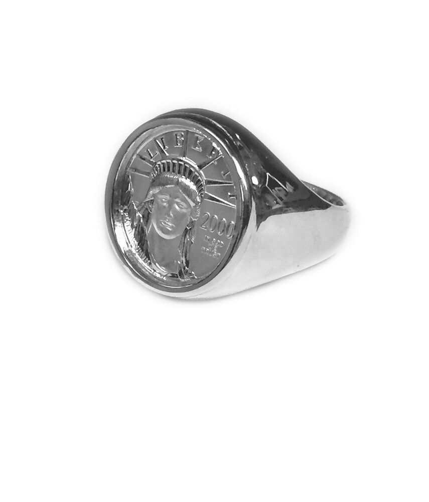 14k White Gold Mens 19 5 Mm Coin Ring With 1 10 Oz