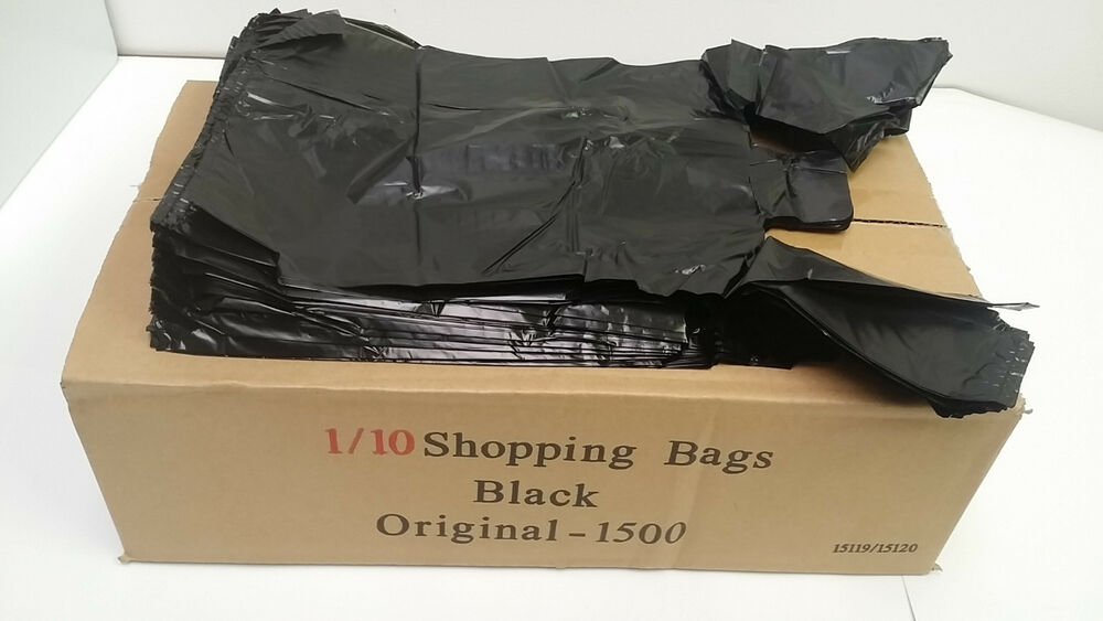 Black Shopping Plastic T Shirt Retail Bag Small Size 1 10
