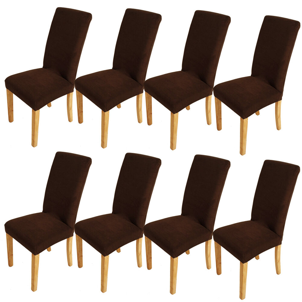 8pcs super fit elegant dining chair cover washable stretch protector