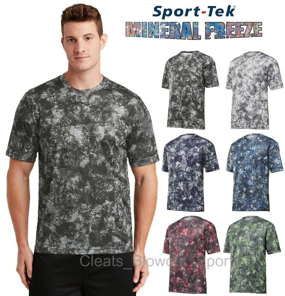 *new*sporttek Drifit T-shirt Workout Performance Moisture Wicking Camo Hex St370 Easy To Use Activewear Tops Men's Clothing