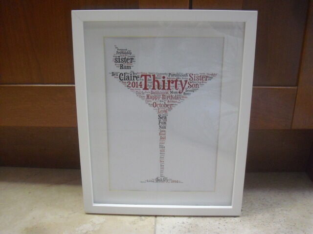 Luxury cocktail glass word art picture with or without - Picture frame without glass ...