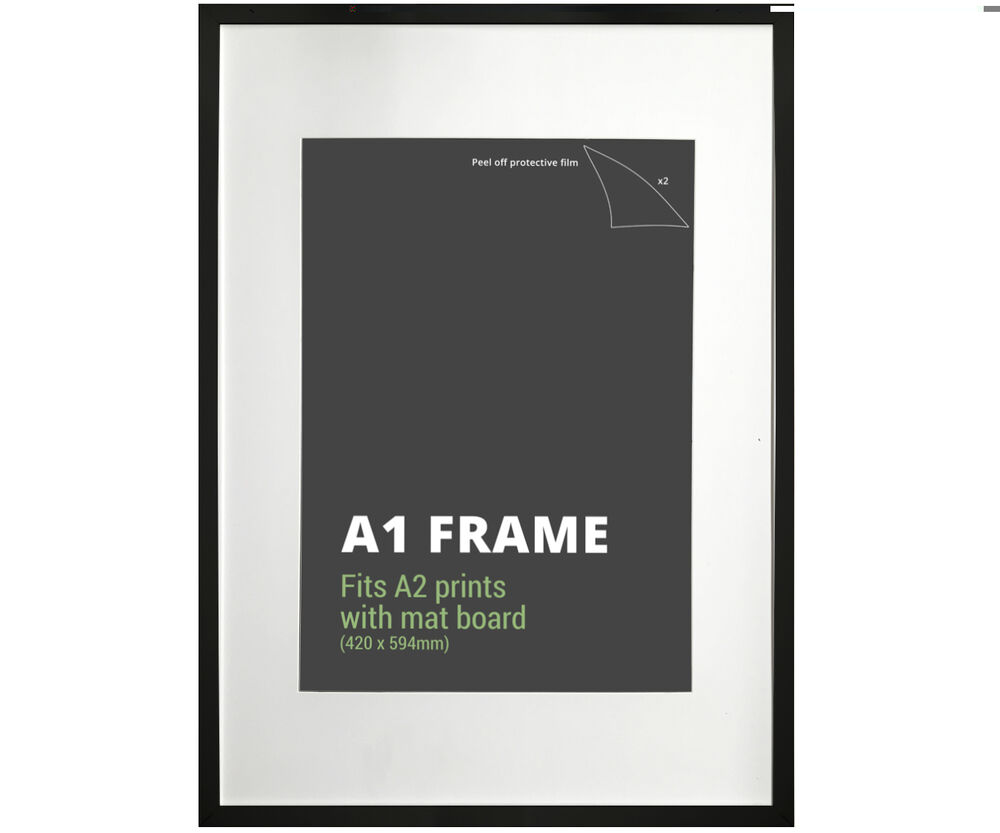 a1 black picture frame mat board fits a1 or a2 print poster frame ebay