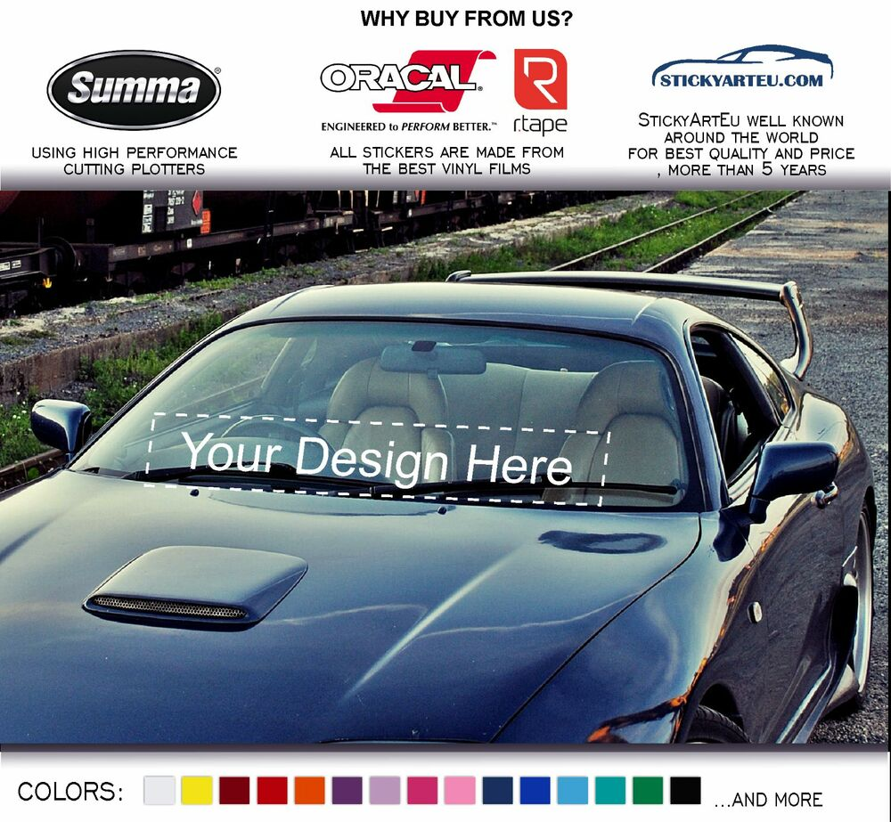 Custom logo your text from photo file car vinyl windshield banner sticker decal ebay