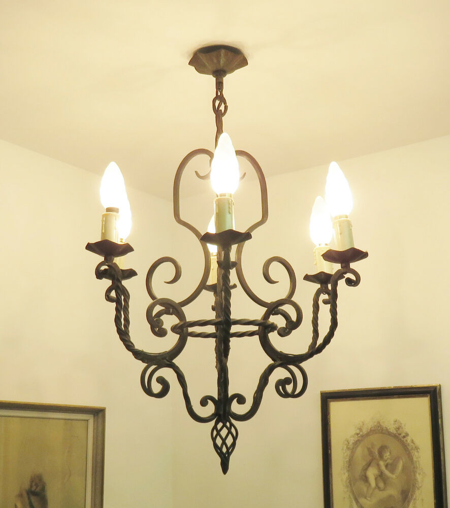 Superb french wrought iron chandelier light lamp lustre ancien fer forge chat - Ancien lustre suspension ...