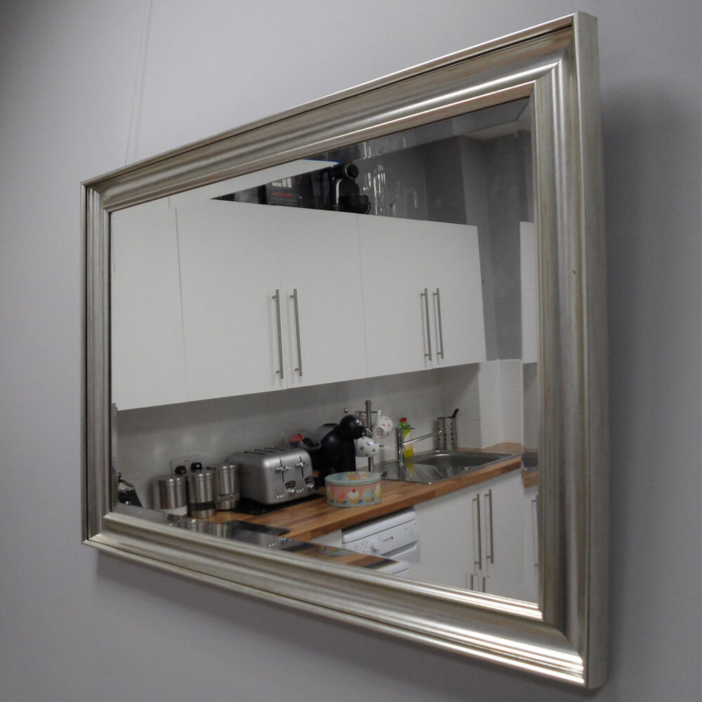 Beauitful contemporary silver framed mirror for a for Silver framed mirror