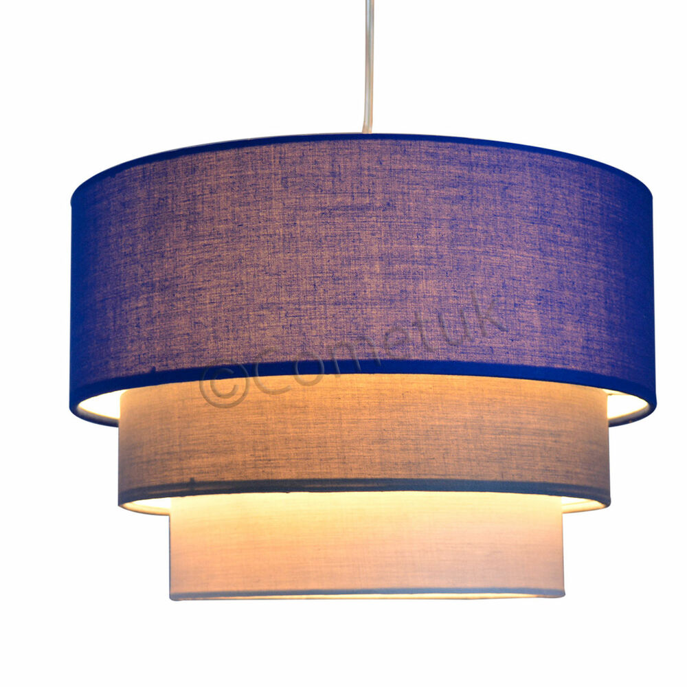 Lamp Shades For Ceiling Lights: Modern 3 Tier Fabric Ceiling Pendant Light Shades Easy Fit