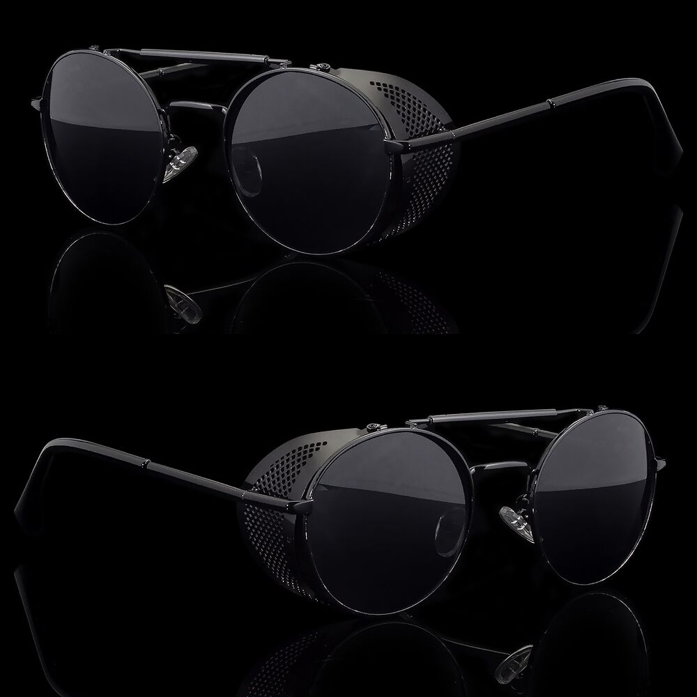 e2182b1483 Details about Black Vintage Retro Steampunk Gothic Side Shield Hipster  Round Sunglasses b