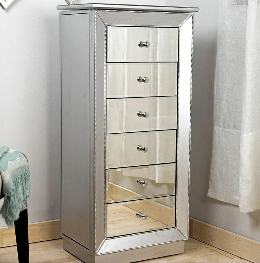 Mirrored Cabinet: Mirrored Jewelry Armoire Large Standing 6 Drawer Silver