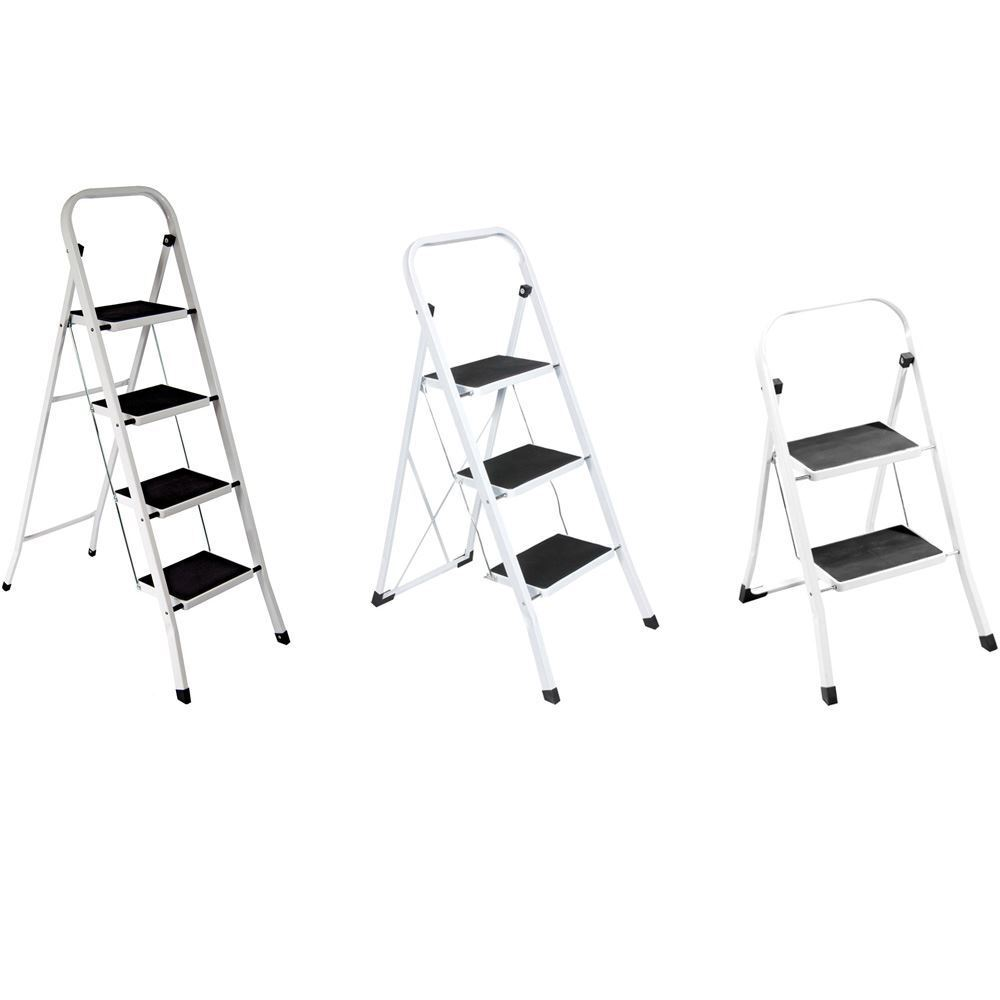 2 3 4 Step Ladder With Safety Anti Slip Rubber Mat Tread