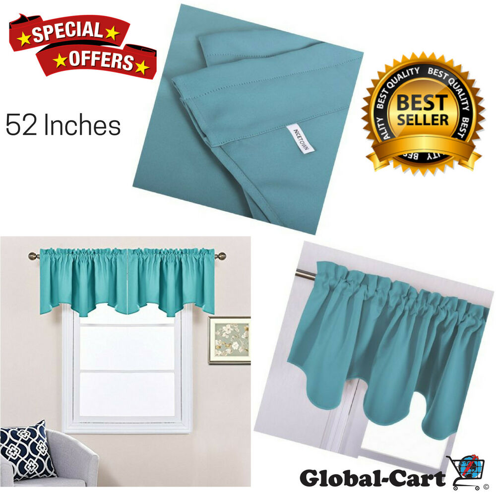 Nicetown Blackout 52 Inch By 18 Inch Scalloped Valance Window Curtain Turquoise Ebay