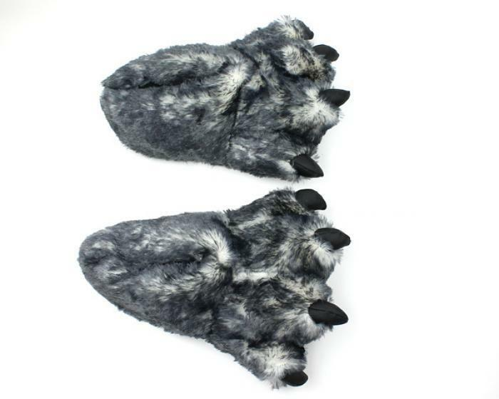 0bb0d599e248 Details about Wolf Paw Slippers - Animal Feet Slippers