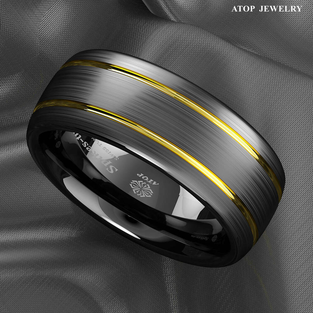 8mm Tungsten Ring Black Brushed Dome 18k Gold Wedding Band Atop Mens Jewelry Ebay