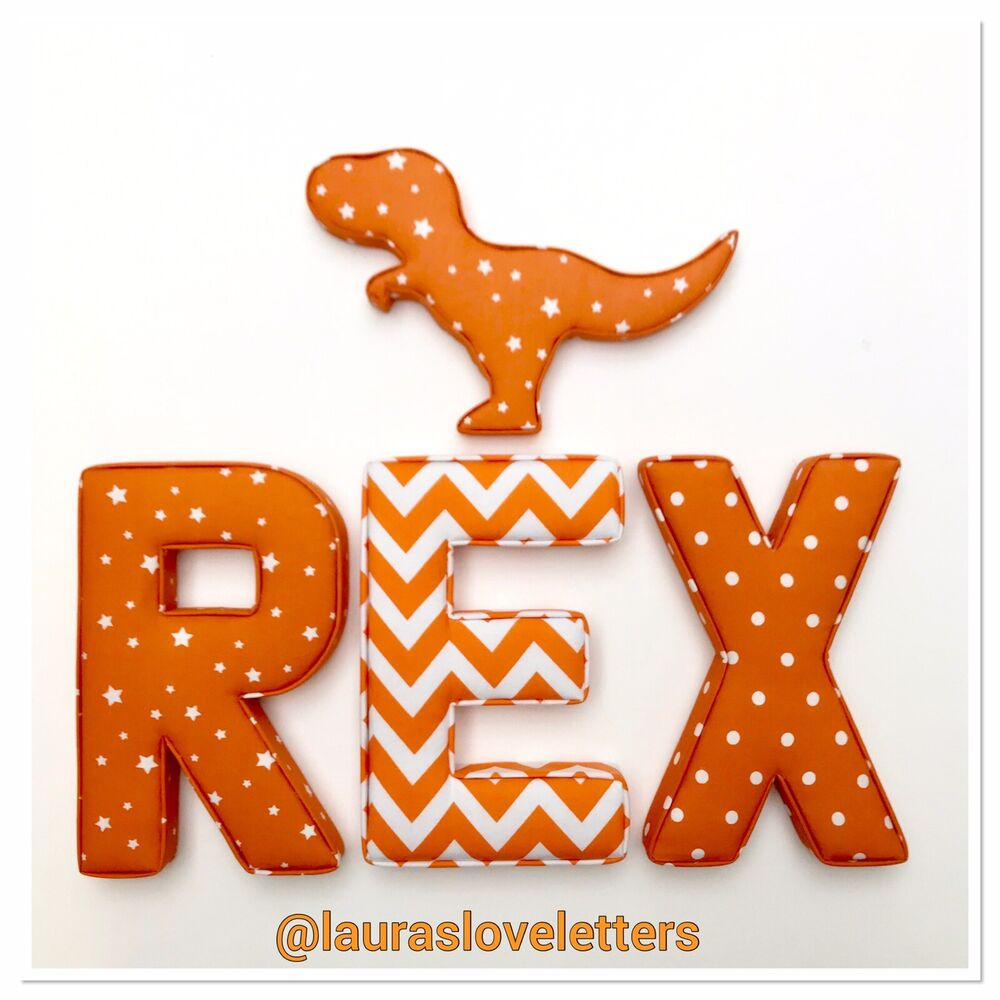 Fabric letters wall art handmade padded nursery name for Fabric covered letters for nursery