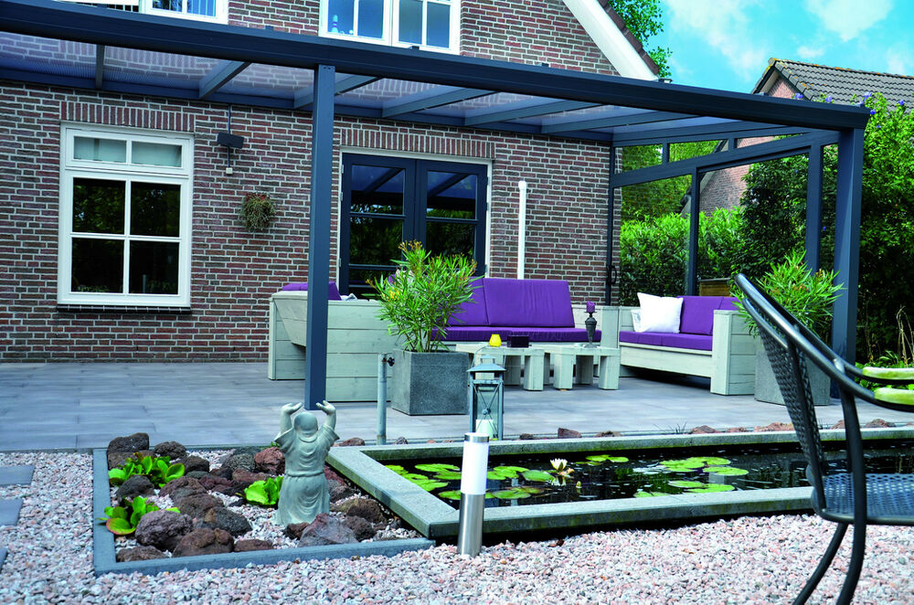 alu terrassen berdachung 6x4 m 16mm polycarbonatplatte klar komplettbausatz ebay. Black Bedroom Furniture Sets. Home Design Ideas