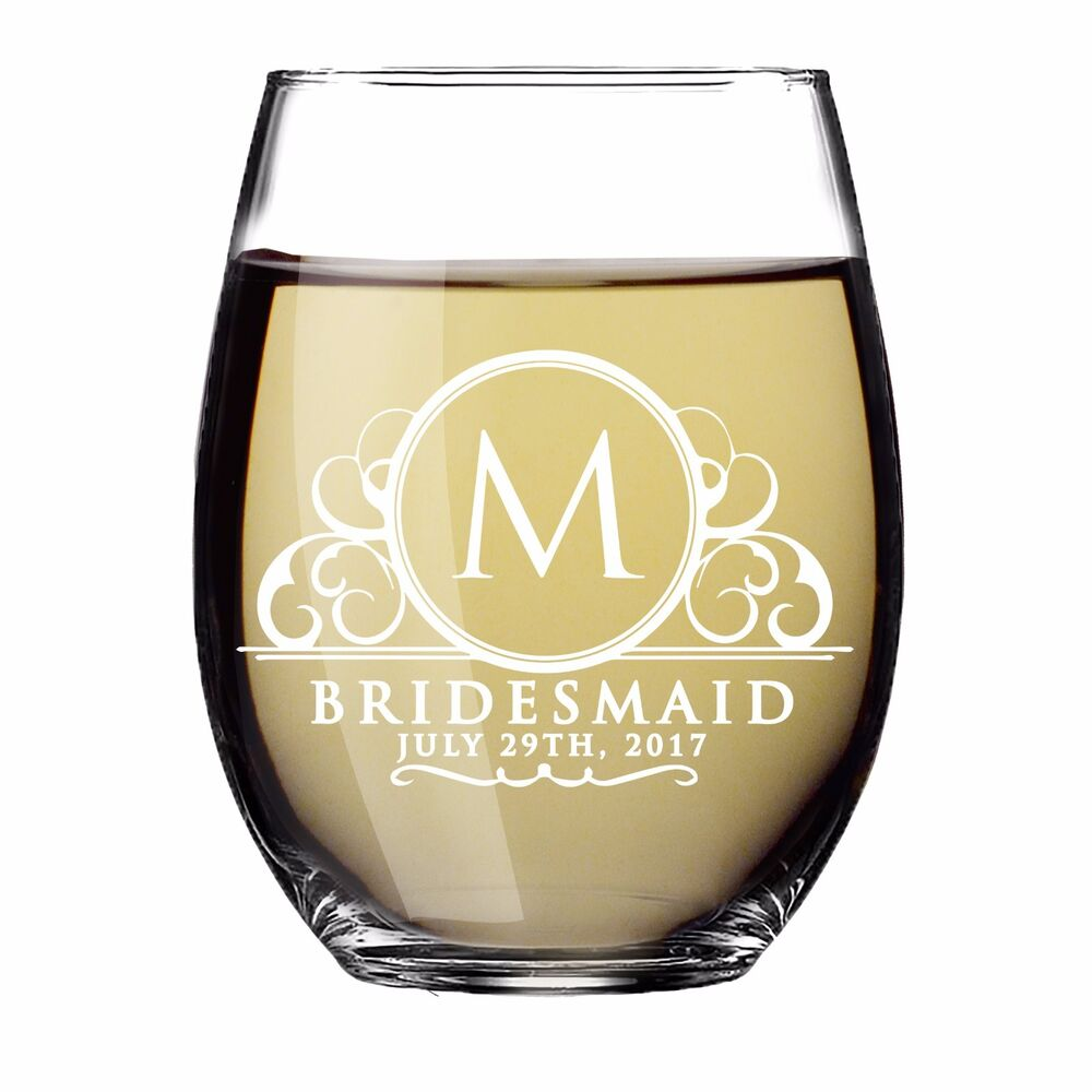 Custom Engraved Stemless Wine Glass Gift For Bridesmaid