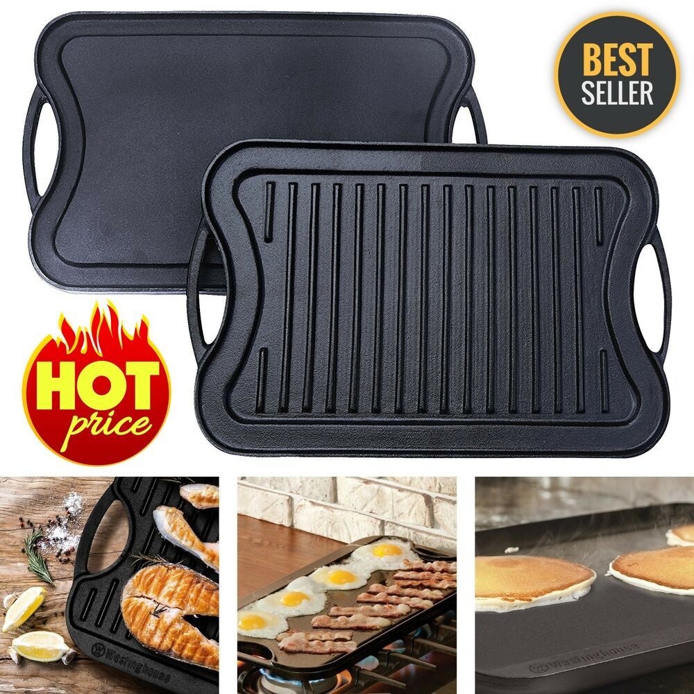 Reversible Cast Iron Grill Griddle Pan Hamburger Steak