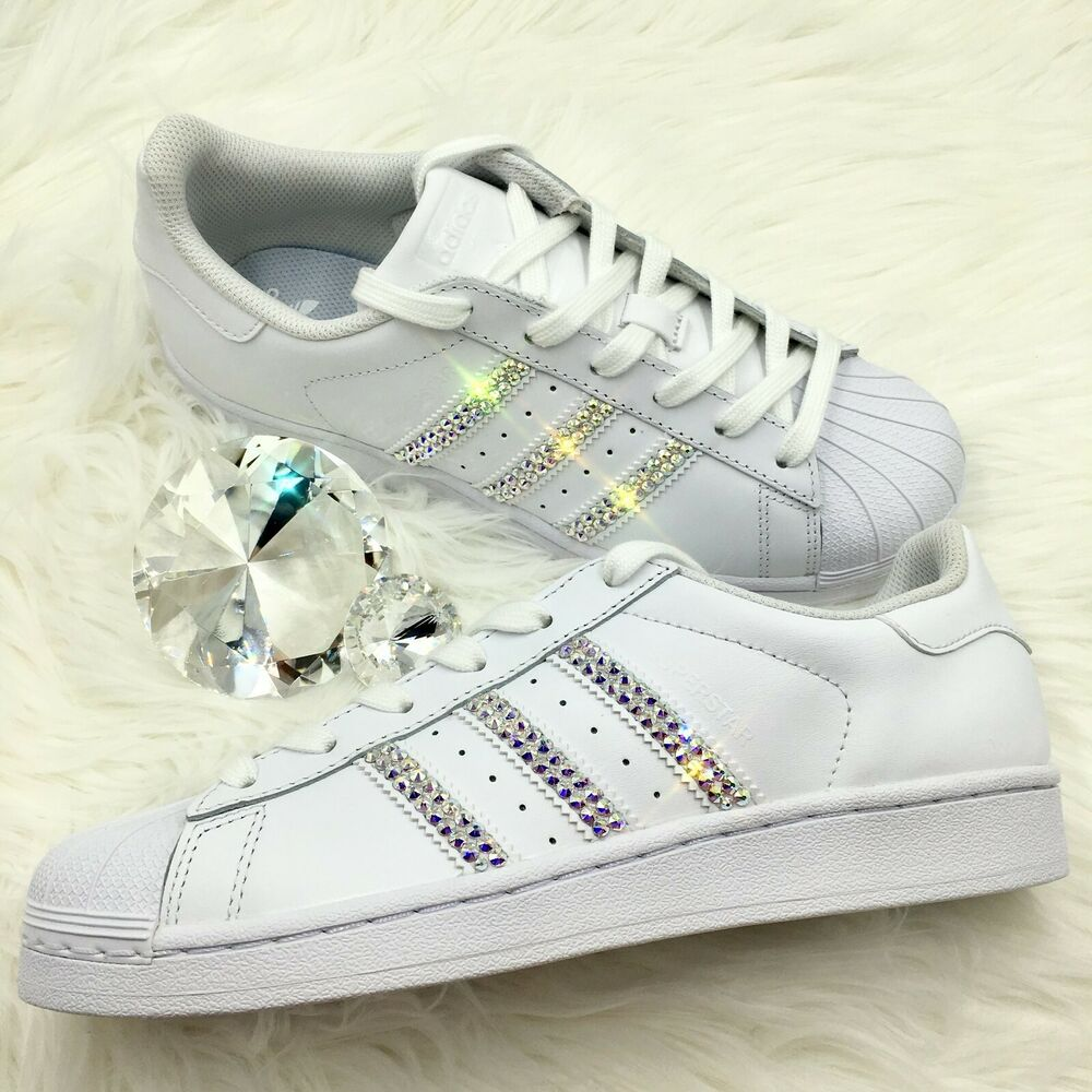 026d14ad3 Details about Bling Adidas w  AB Swarovski Crystals Women s Originals  Superstar Shoes - White