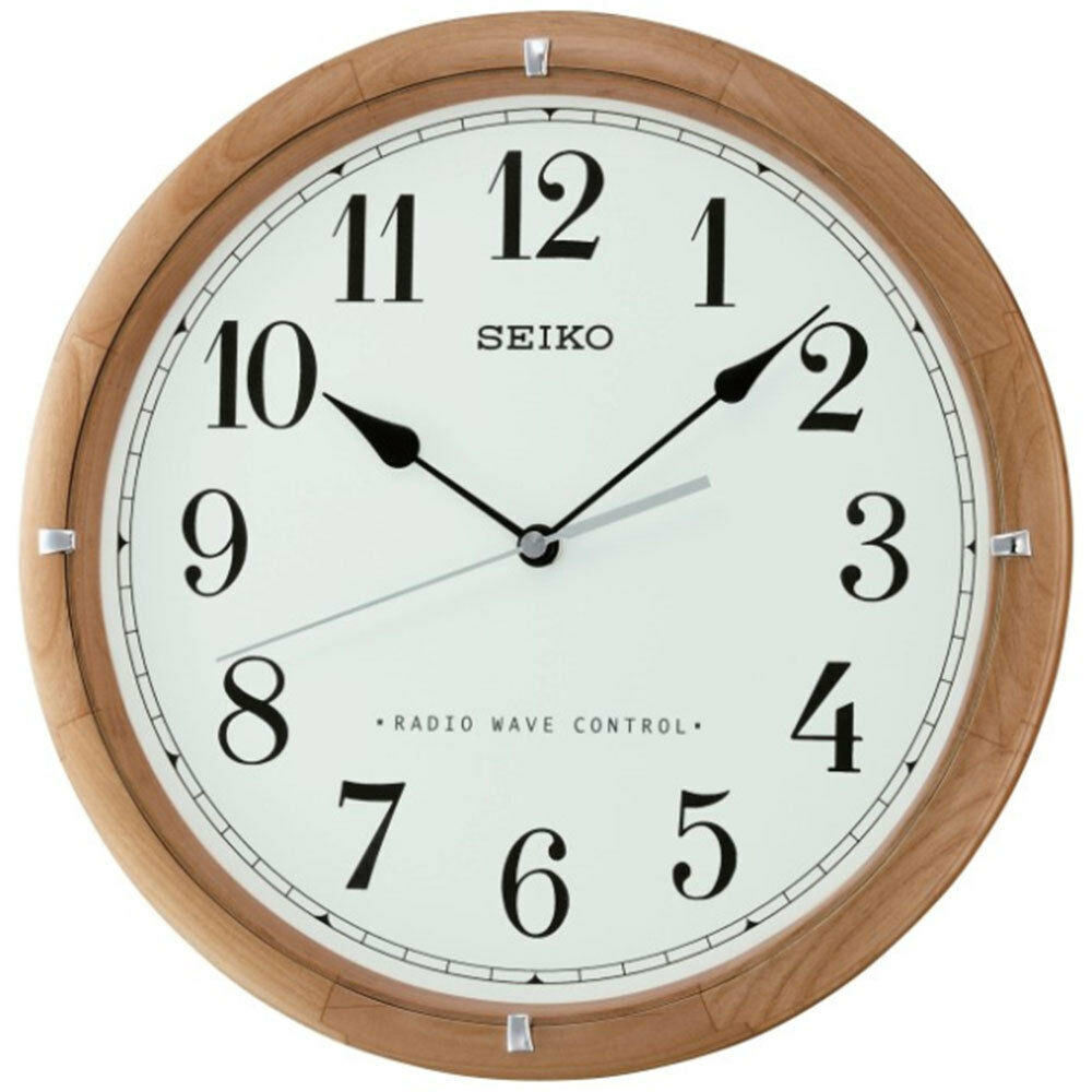 Seiko Wall Clock Radio Controlled Wooden White Face Home