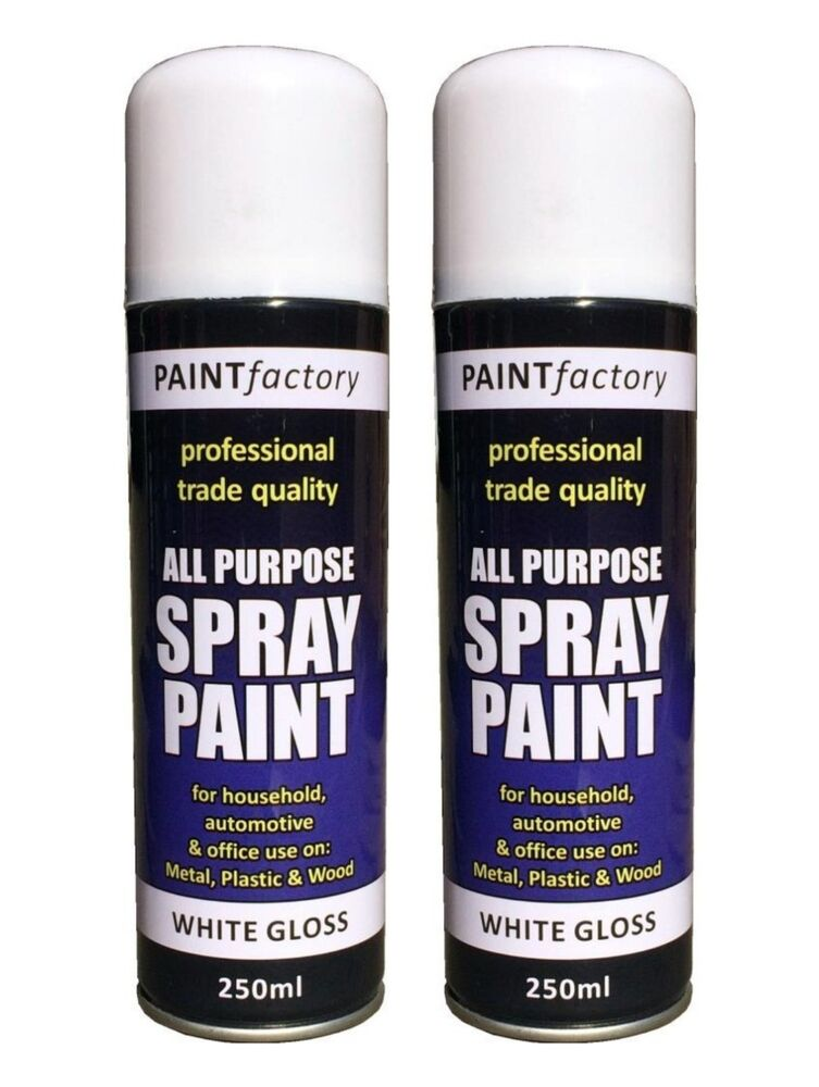 2x Multi Purpose White Gloss Spray Paint Diy Auto Car Metal Plastic Wood 250ml Ebay