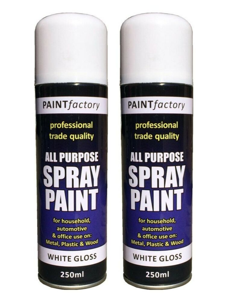 2x multi purpose white gloss spray paint diy auto car metal plastic wood 250ml ebay Spray paint for metal