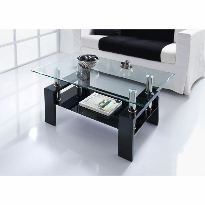 Contemporary Glass Coffee Tables Uk: Modern Rectangle Glass & Chrome Living Room Coffee Table