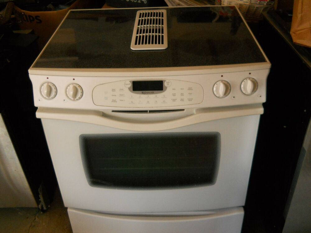 Jenn air jes9800 white downdraft range smooth top ebay for What is a downdraft range