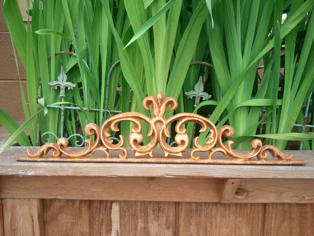 Cast iron metal decorative wall scroll frieze home window for Outdoor decorative items