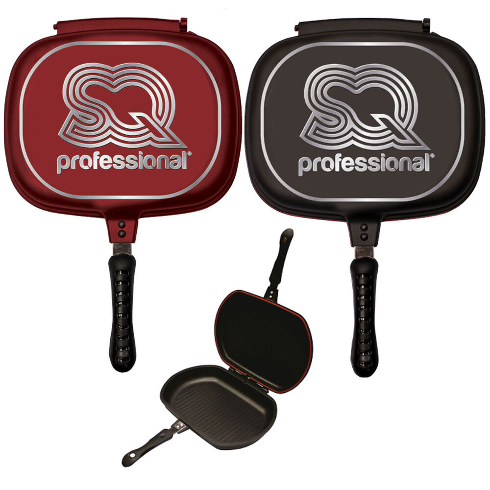 32cm double sided die cast grill frying pan magic foldable flipping griddle ebay. Black Bedroom Furniture Sets. Home Design Ideas