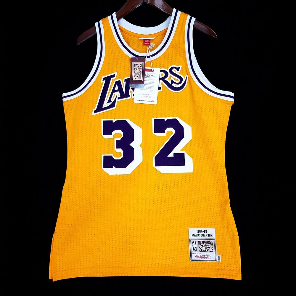 Authentic Magic Johnson Mitchell Ness NBA Lakers Gold ...Lakers Jersey