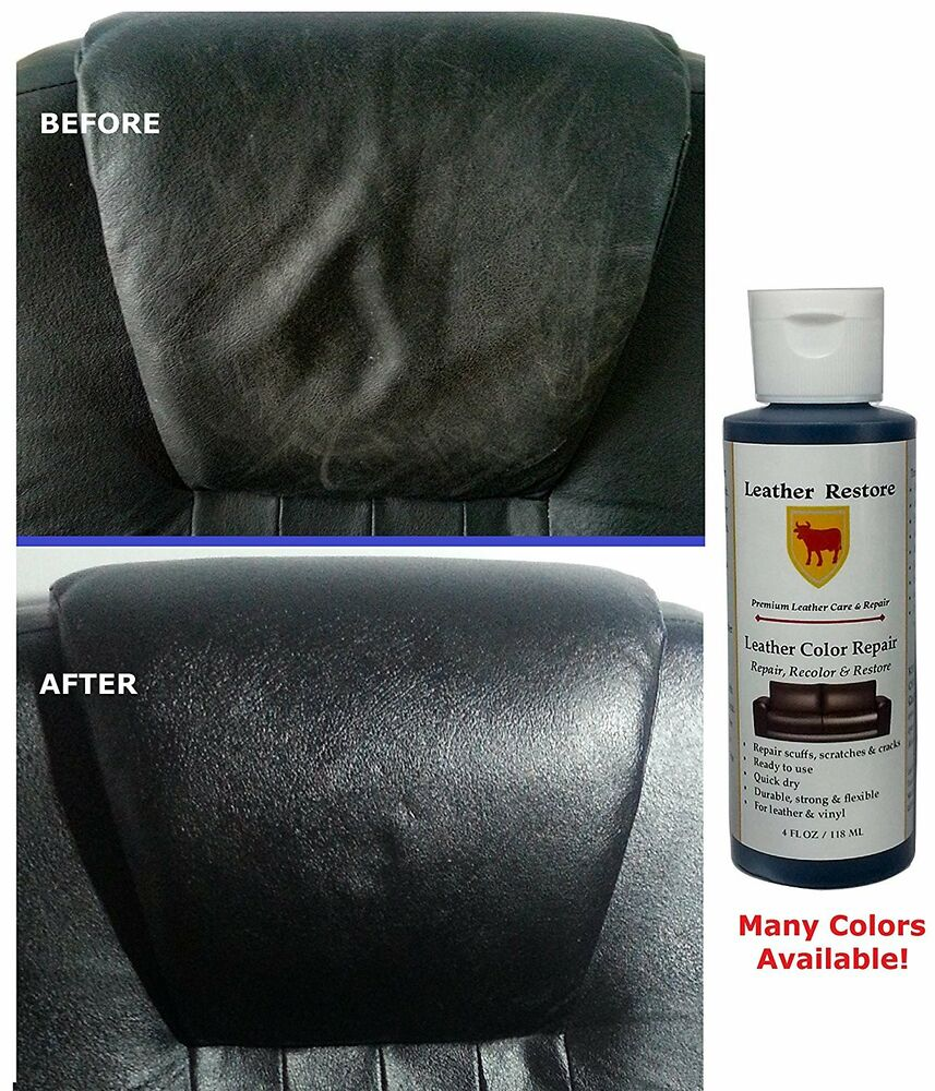 leather restore color repair 4 oz bottle leather vinyl furniture auto sofa ebay. Black Bedroom Furniture Sets. Home Design Ideas